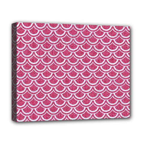 Scales2 White Marble & Pink Denim Deluxe Canvas 20  X 16   by trendistuff