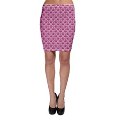 SCALES2 WHITE MARBLE & PINK DENIM Bodycon Skirt