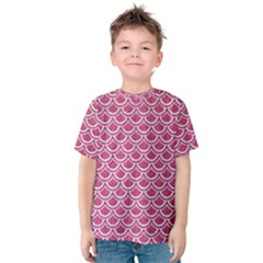 SCALES2 WHITE MARBLE & PINK DENIM Kids  Cotton Tee