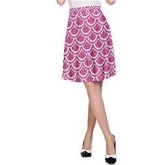 SCALES2 WHITE MARBLE & PINK DENIM A-Line Skirt
