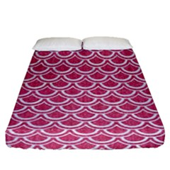 SCALES2 WHITE MARBLE & PINK DENIM Fitted Sheet (Queen Size)