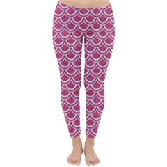 SCALES2 WHITE MARBLE & PINK DENIM Classic Winter Leggings