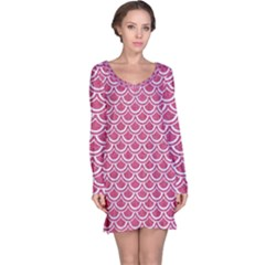 SCALES2 WHITE MARBLE & PINK DENIM Long Sleeve Nightdress