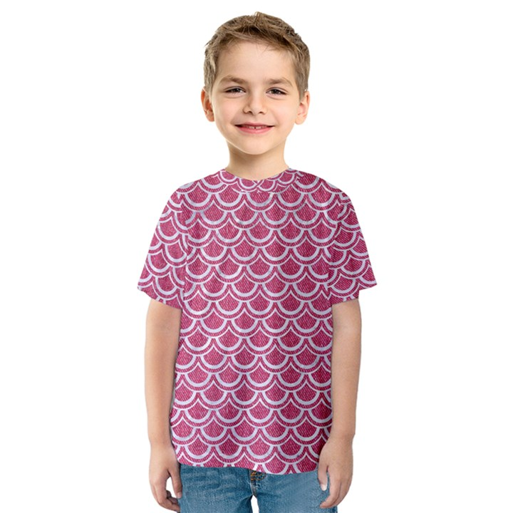 SCALES2 WHITE MARBLE & PINK DENIM Kids  Sport Mesh Tee