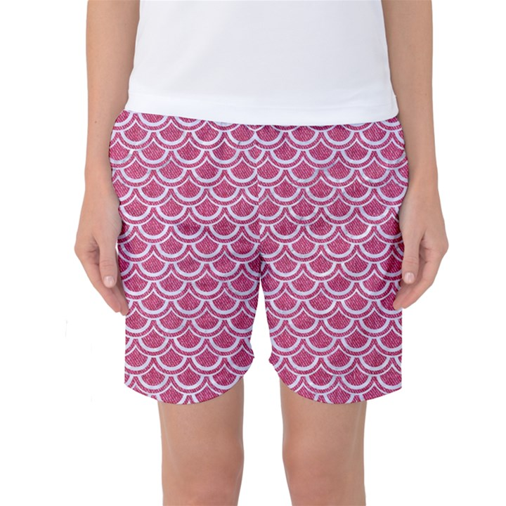 SCALES2 WHITE MARBLE & PINK DENIM Women s Basketball Shorts