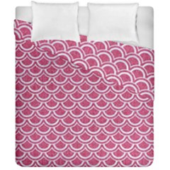 SCALES2 WHITE MARBLE & PINK DENIM Duvet Cover Double Side (California King Size)