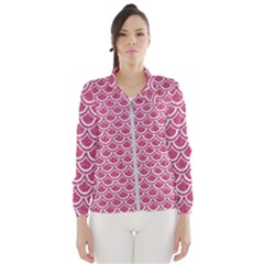Scales2 White Marble & Pink Denim Windbreaker (women) by trendistuff