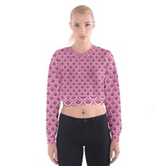 Scales2 White Marble & Pink Denim Cropped Sweatshirt