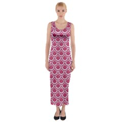 SCALES2 WHITE MARBLE & PINK DENIM Fitted Maxi Dress
