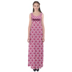 Scales2 White Marble & Pink Denim Empire Waist Maxi Dress by trendistuff