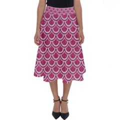 SCALES2 WHITE MARBLE & PINK DENIM Perfect Length Midi Skirt