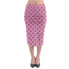 SCALES2 WHITE MARBLE & PINK DENIM Midi Pencil Skirt