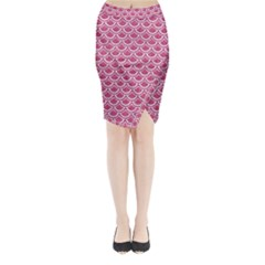 Scales2 White Marble & Pink Denim Midi Wrap Pencil Skirt
