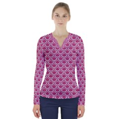 SCALES2 WHITE MARBLE & PINK DENIM V-Neck Long Sleeve Top