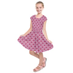 SCALES2 WHITE MARBLE & PINK DENIM Kids  Short Sleeve Dress