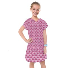 Scales2 White Marble & Pink Denim Kids  Drop Waist Dress by trendistuff