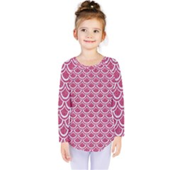 Scales2 White Marble & Pink Denim Kids  Long Sleeve Tee by trendistuff