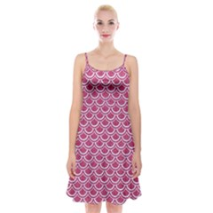 Scales2 White Marble & Pink Denim Spaghetti Strap Velvet Dress by trendistuff
