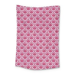 SCALES2 WHITE MARBLE & PINK DENIM Small Tapestry