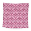 SCALES2 WHITE MARBLE & PINK DENIM Square Tapestry (Large) View1
