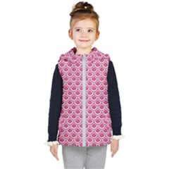 SCALES2 WHITE MARBLE & PINK DENIM Kid s Hooded Puffer Vest