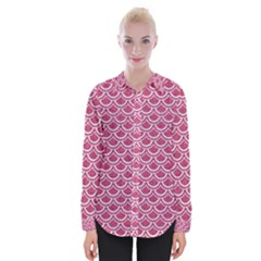 SCALES2 WHITE MARBLE & PINK DENIM Womens Long Sleeve Shirt
