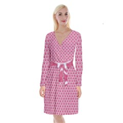 Scales2 White Marble & Pink Denim Long Sleeve Velvet Front Wrap Dress by trendistuff