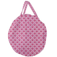 Scales2 White Marble & Pink Denim Giant Round Zipper Tote by trendistuff