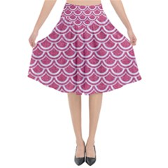 SCALES2 WHITE MARBLE & PINK DENIM Flared Midi Skirt