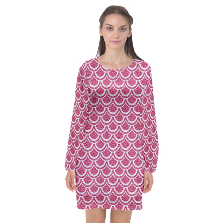 SCALES2 WHITE MARBLE & PINK DENIM Long Sleeve Chiffon Shift Dress