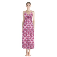 Scales2 White Marble & Pink Denim Button Up Chiffon Maxi Dress