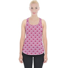 Scales2 White Marble & Pink Denim Piece Up Tank Top by trendistuff