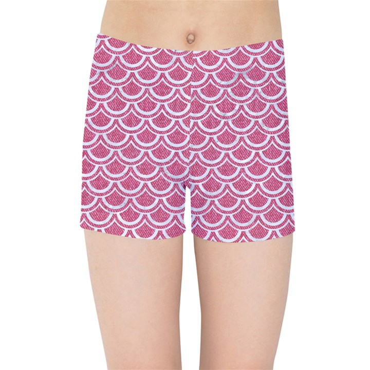 SCALES2 WHITE MARBLE & PINK DENIM Kids Sports Shorts