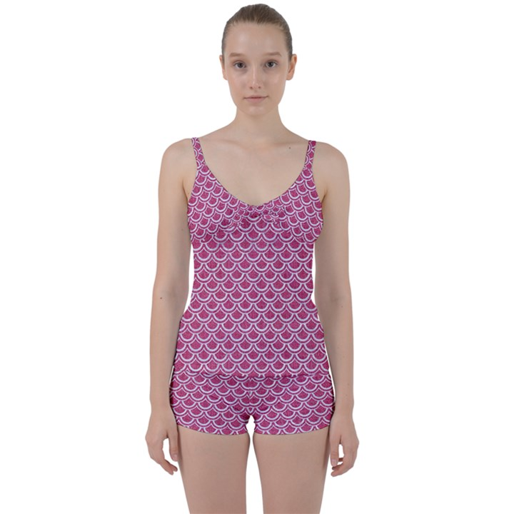 SCALES2 WHITE MARBLE & PINK DENIM Tie Front Two Piece Tankini