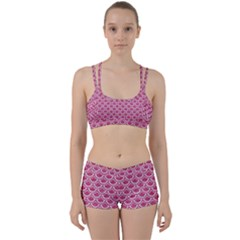 Scales2 White Marble & Pink Denim Women s Sports Set by trendistuff