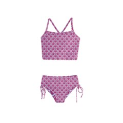 SCALES2 WHITE MARBLE & PINK DENIM Girls  Tankini Swimsuit