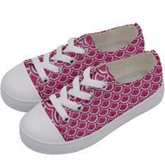 SCALES2 WHITE MARBLE & PINK DENIM Kids  Low Top Canvas Sneakers