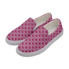 SCALES2 WHITE MARBLE & PINK DENIM Women s Canvas Slip Ons