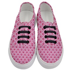 Scales2 White Marble & Pink Denim Women s Classic Low Top Sneakers