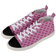 SCALES2 WHITE MARBLE & PINK DENIM Men s Mid-Top Canvas Sneakers