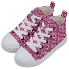 SCALES2 WHITE MARBLE & PINK DENIM Kid s Mid-Top Canvas Sneakers