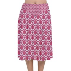 Scales2 White Marble & Pink Denim Velvet Flared Midi Skirt