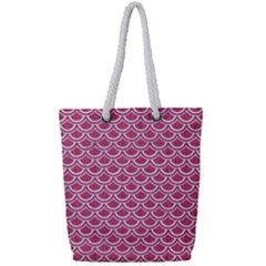 Scales2 White Marble & Pink Denim Full Print Rope Handle Tote (small)