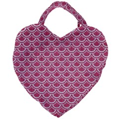 Scales2 White Marble & Pink Denim Giant Heart Shaped Tote by trendistuff