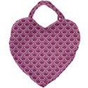 SCALES2 WHITE MARBLE & PINK DENIM Giant Heart Shaped Tote View2