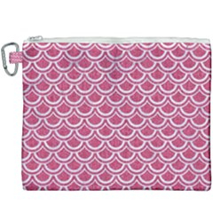 Scales2 White Marble & Pink Denim Canvas Cosmetic Bag (xxxl)