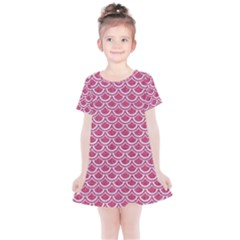 SCALES2 WHITE MARBLE & PINK DENIM Kids  Simple Cotton Dress