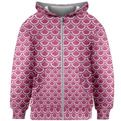 SCALES2 WHITE MARBLE & PINK DENIM Kids Zipper Hoodie Without Drawstring