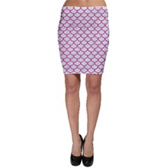 Scales1 White Marble & Pink Denim (r) Bodycon Skirt