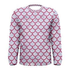 Scales1 White Marble & Pink Denim (r) Men s Long Sleeve Tee by trendistuff